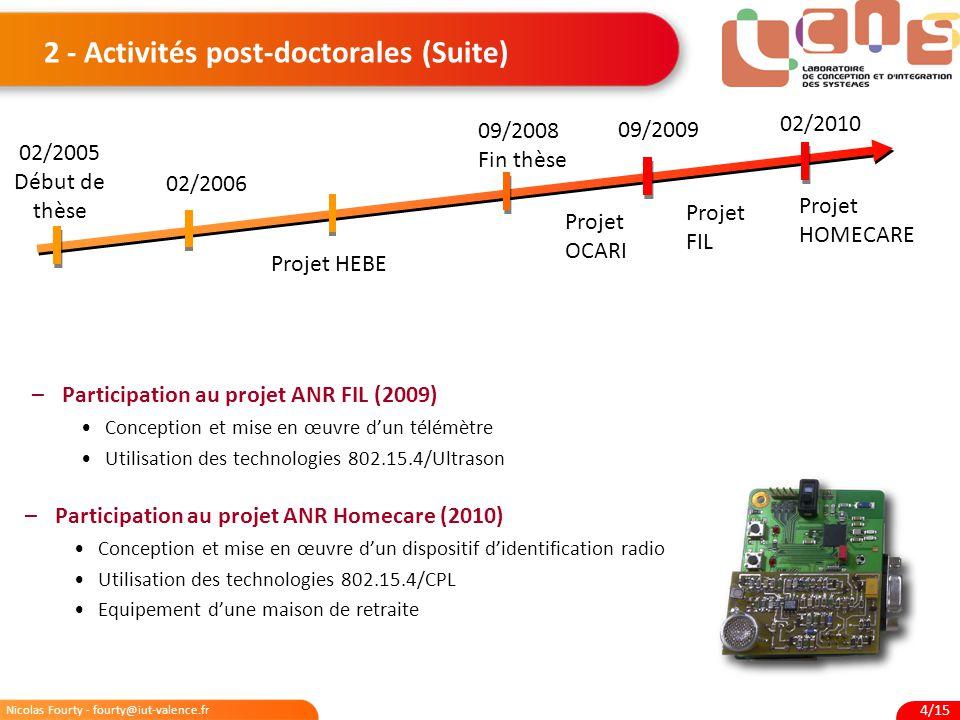 2 - Activités post-doctorales (Suite)