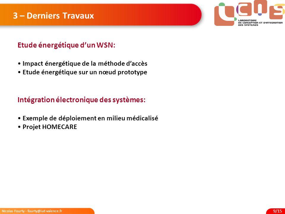 3 – Derniers Travaux Etude énergétique d'un WSN: