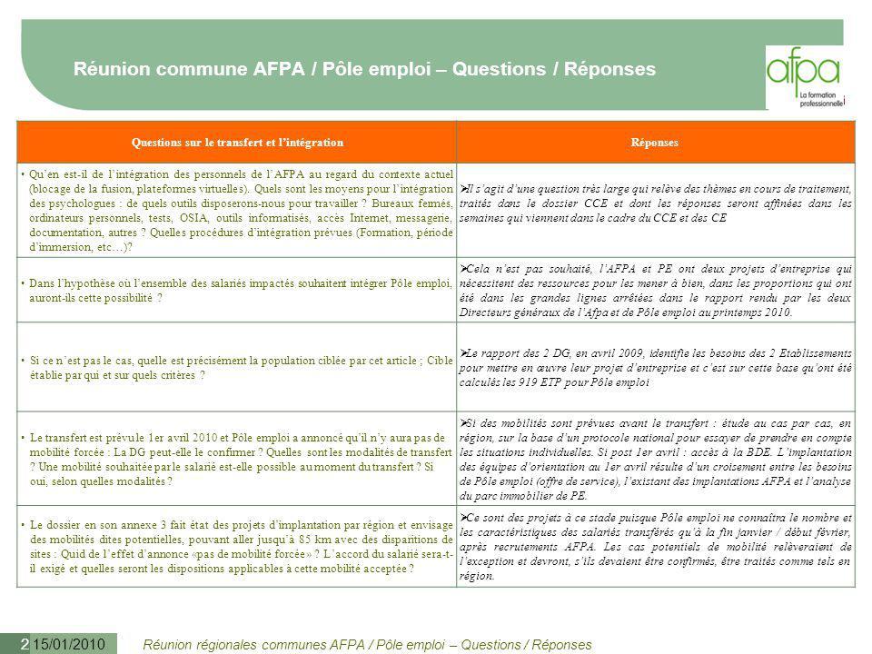 Réunion commune AFPA / Pôle emploi – Questions / Réponses