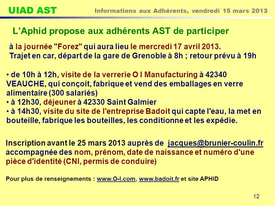 L'Aphid propose aux adhérents AST de participer