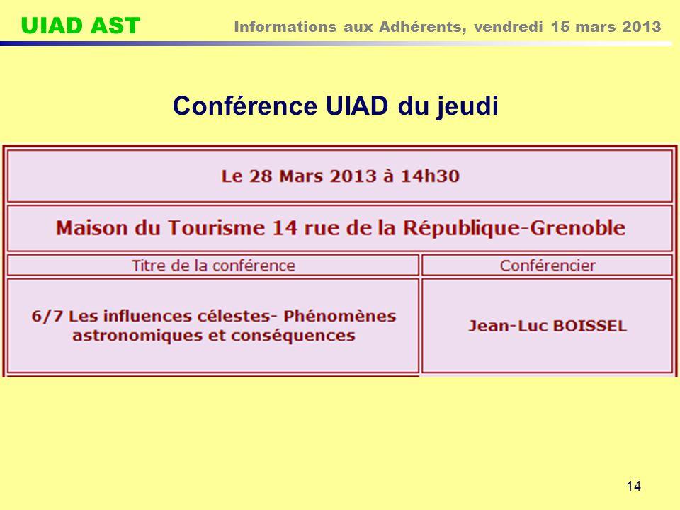 Conférence UIAD du jeudi
