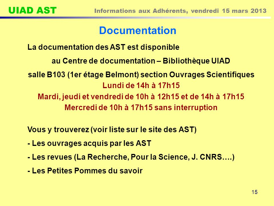 Documentation La documentation des AST est disponible