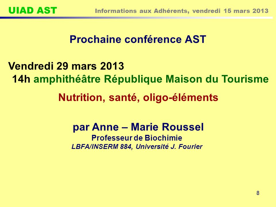 Prochaine conférence AST