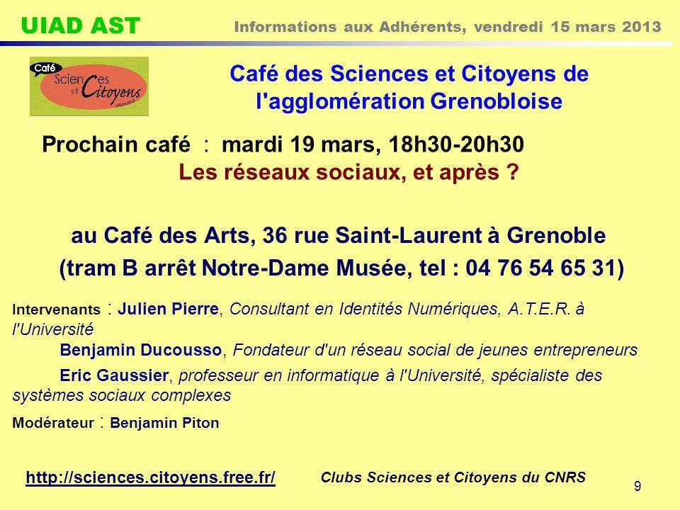 Café des Sciences et Citoyens de l agglomération Grenobloise