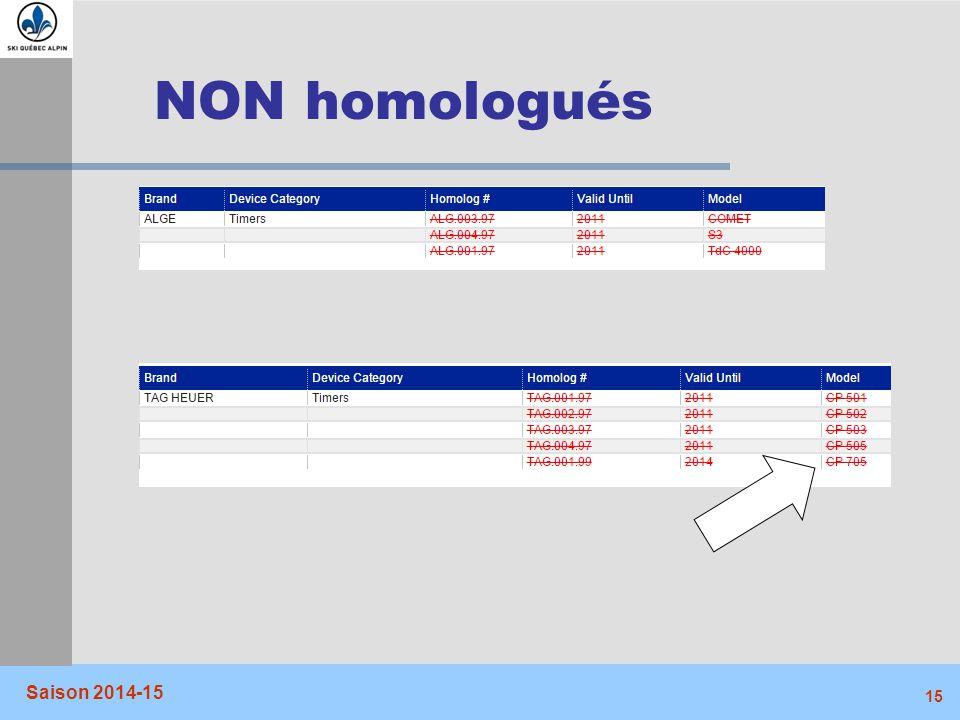 NON homologués Saison 2014-15
