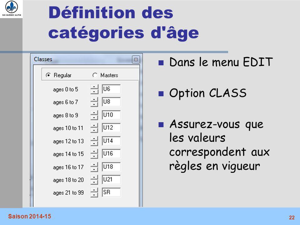 Définition des catégories d âge