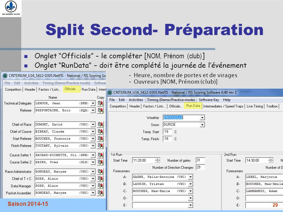 Split Second- Préparation