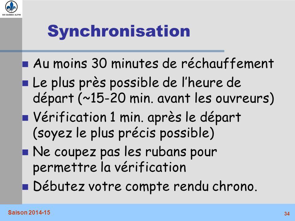 Synchronisation Au moins 30 minutes de réchauffement