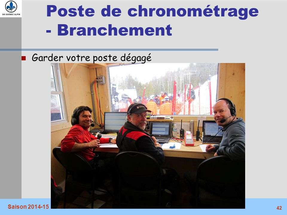 Poste de chronométrage - Branchement