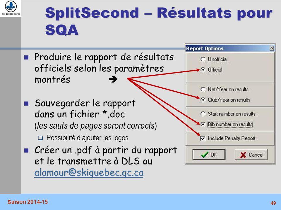 SplitSecond – Résultats pour SQA