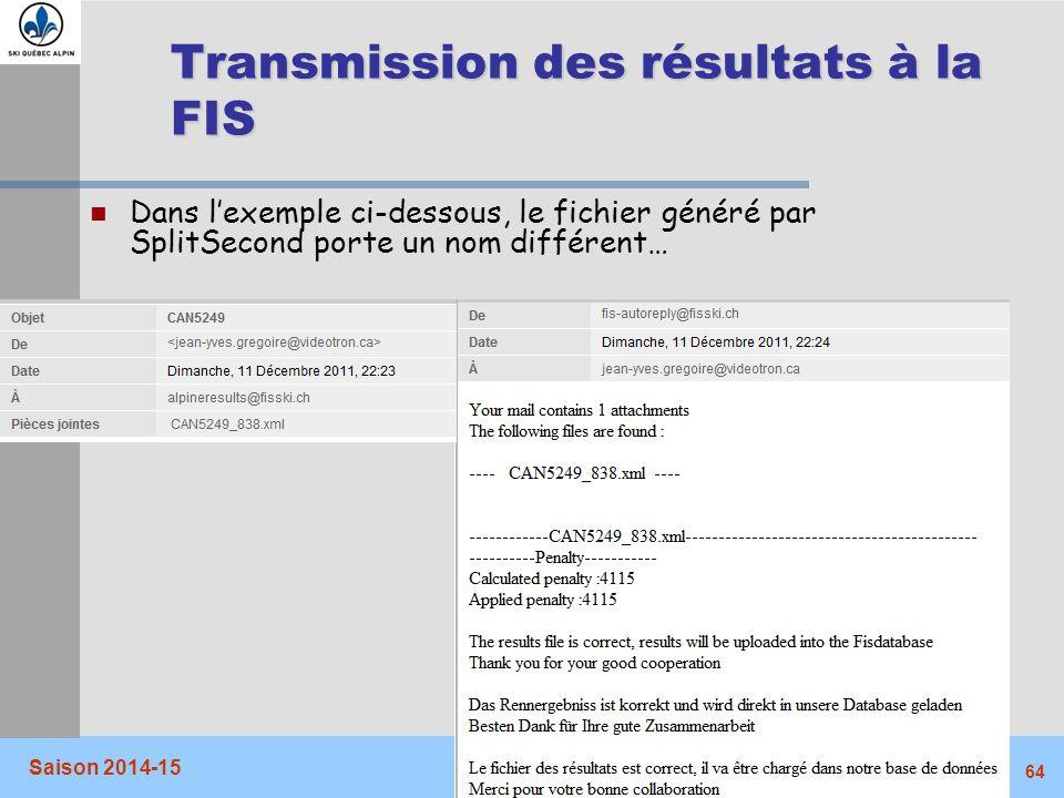 Transmission des résultats à la FIS