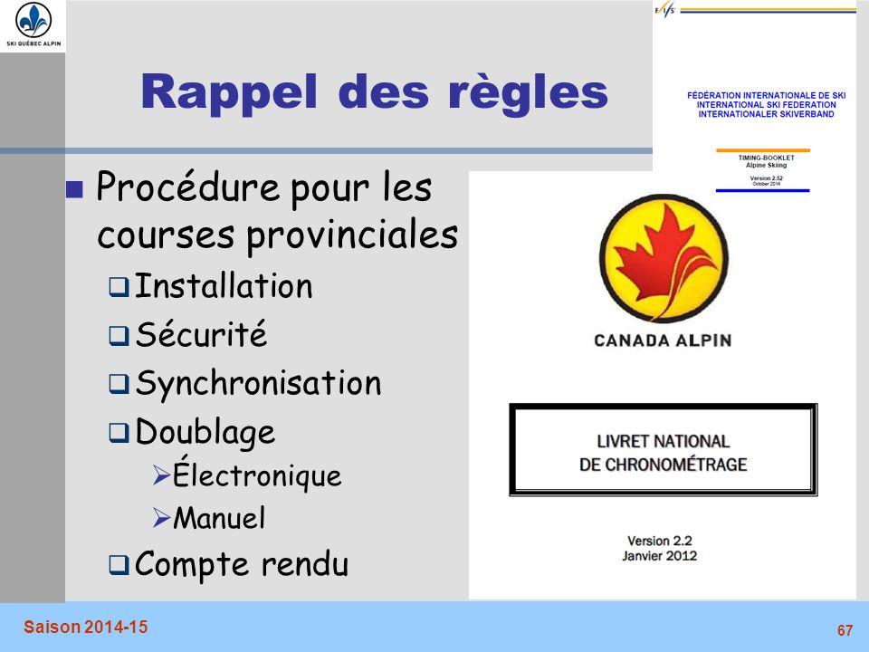 Rappel des règles Procédure pour les courses provinciales Installation