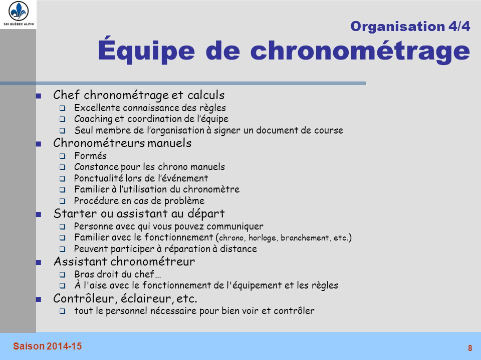 Organisation 4/4 Équipe de chronométrage