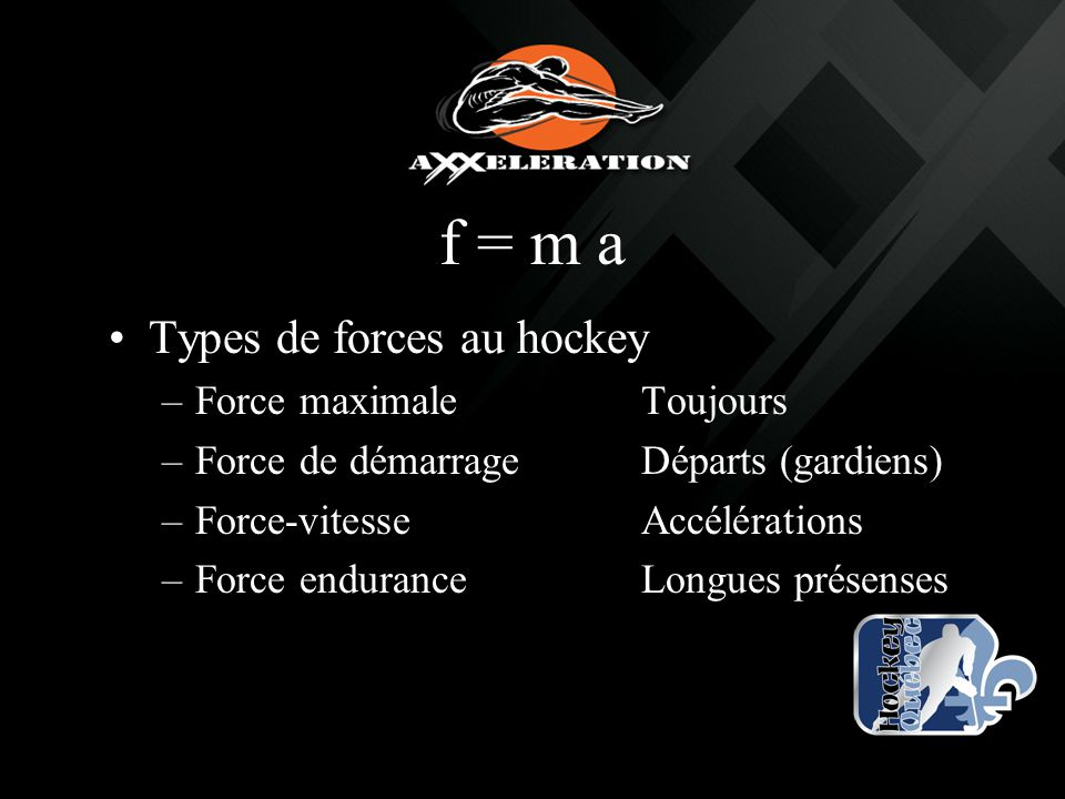f = m a Types de forces au hockey Force maximale Toujours