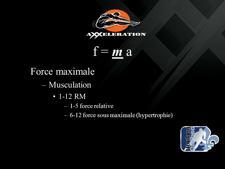 f = m a Force maximale Musculation 1-12 RM 1-5 force relative