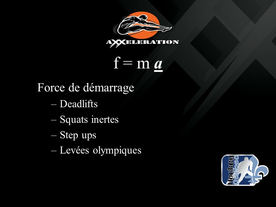 f = m a Force de démarrage Deadlifts Squats inertes Step ups