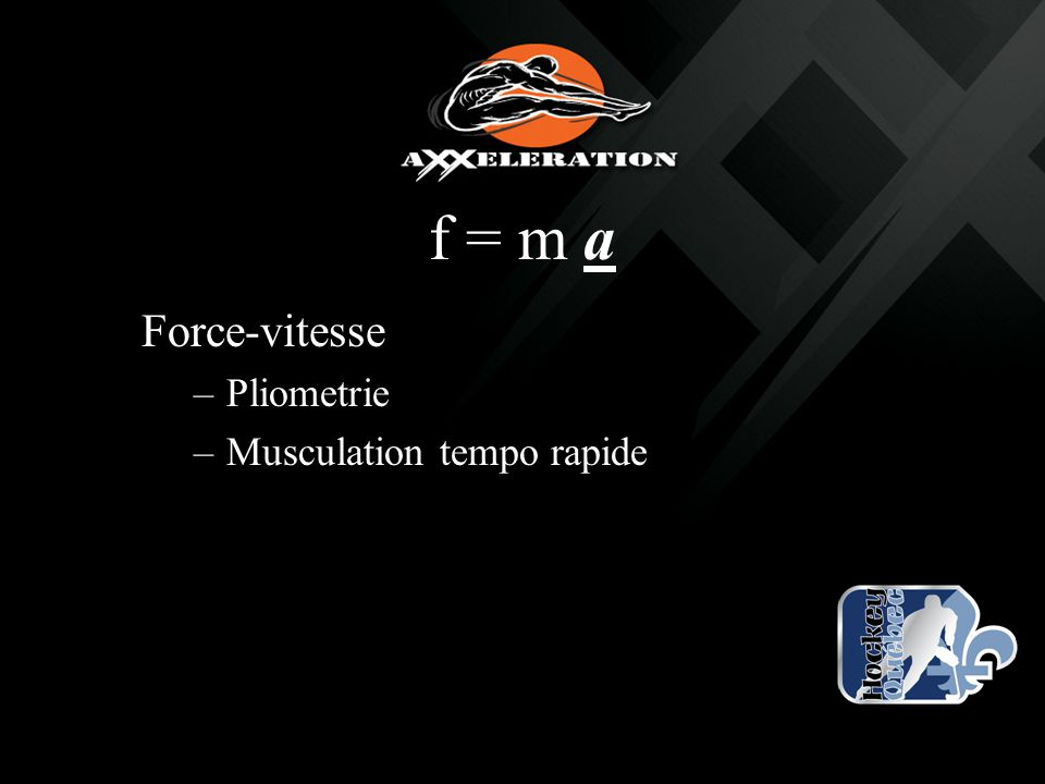 f = m a Force-vitesse Pliometrie Musculation tempo rapide