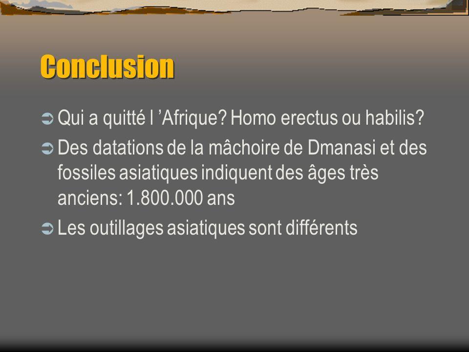 Conclusion Qui a quitté l 'Afrique Homo erectus ou habilis