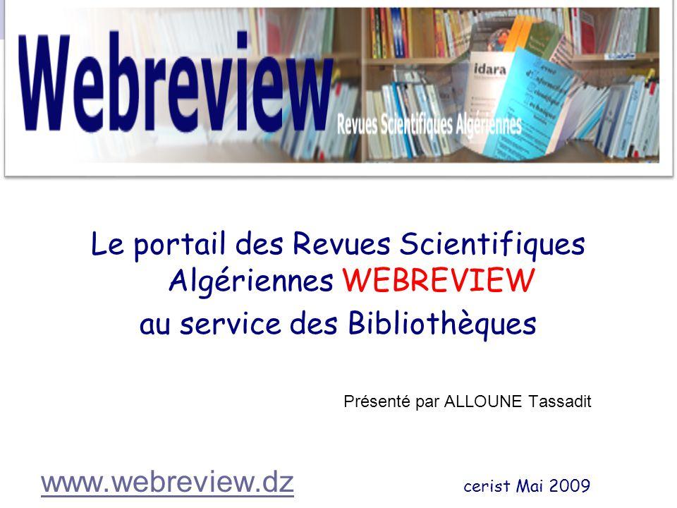 Le portail des Revues Scientifiques Algériennes WEBREVIEW