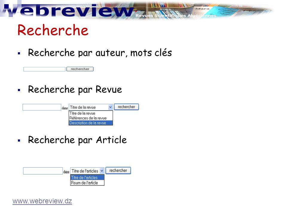 Recherche Recherche par auteur, mots clés Recherche par Revue