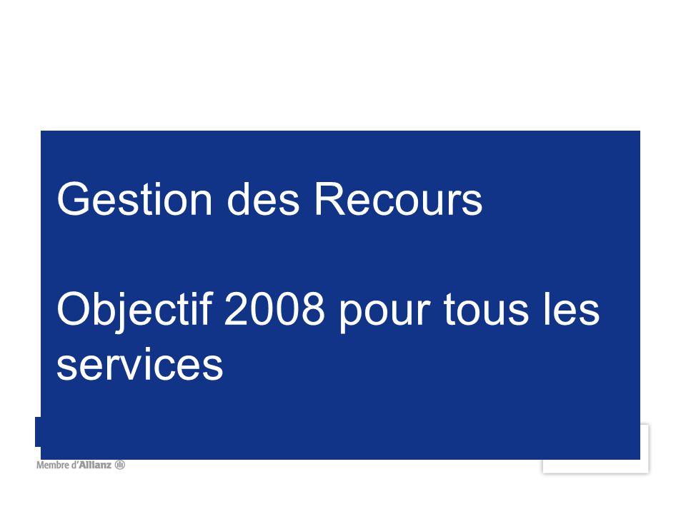 Gestion des Recours Objectif 2008 pour tous les services