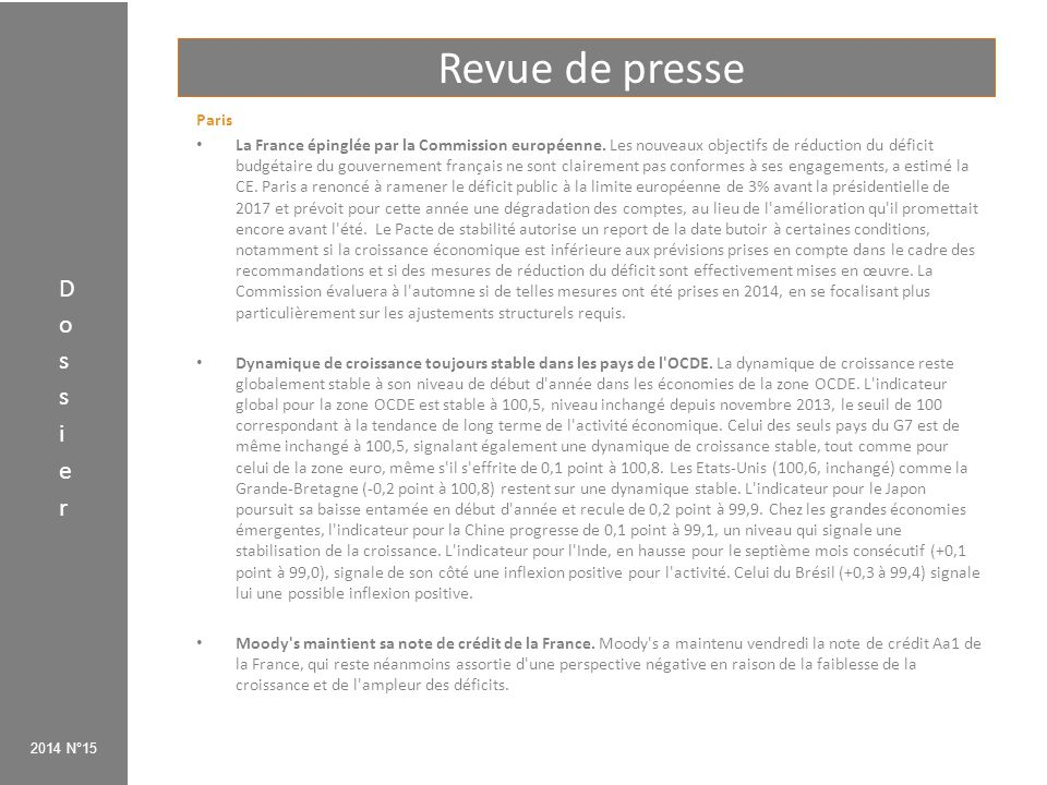 Revue de presse Dossier Paris