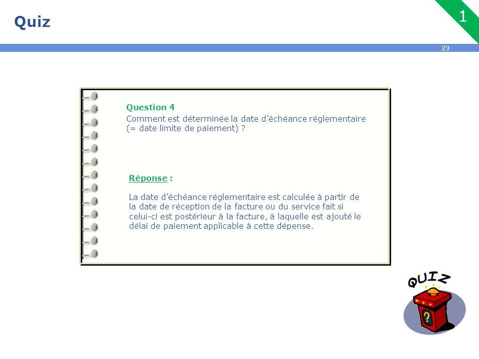 Quiz 1. Question 4. Comment est déterminée la date d'échéance réglementaire (= date limite de paiement)