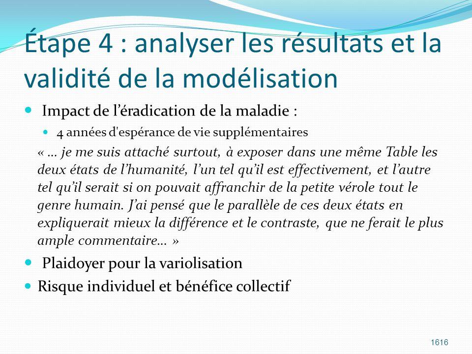 Étape 4 : analyser les résultats et la validité de la modélisation