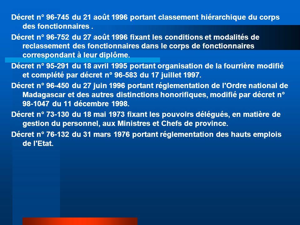 Décret n° 96-745 du 21 août 1996 portant classement hiérarchique du corps des fonctionnaires .