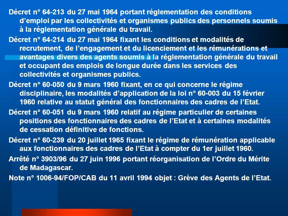 Décret n° 64-213 du 27 mai 1964 portant réglementation des conditions d'emploi par les collectivités et organismes publics des personnels soumis à la réglementation générale du travail.