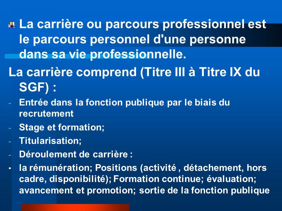 La carrière comprend (Titre III à Titre IX du SGF) :