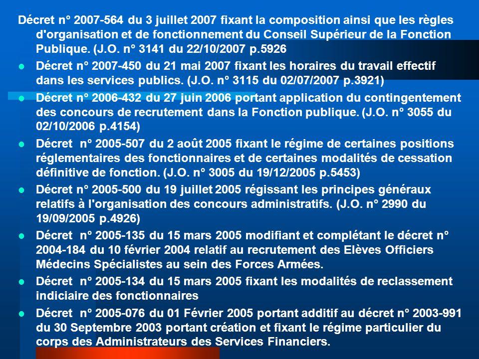 Décret n° 2007-564 du 3 juillet 2007 fixant la composition ainsi que les règles d organisation et de fonctionnement du Conseil Supérieur de la Fonction Publique. (J.O. n° 3141 du 22/10/2007 p.5926