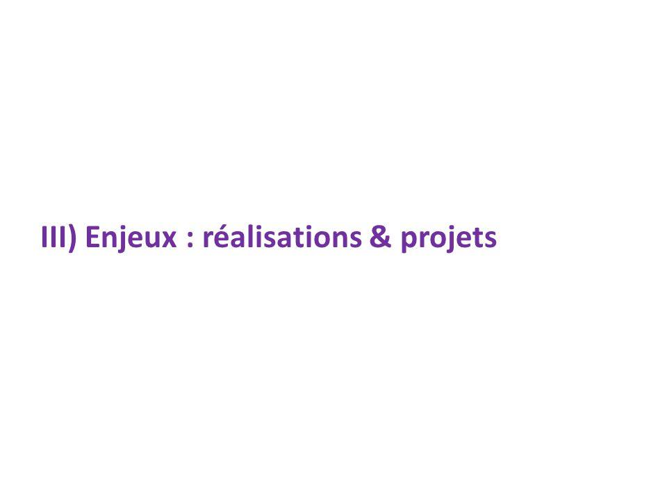 III) Enjeux : réalisations & projets