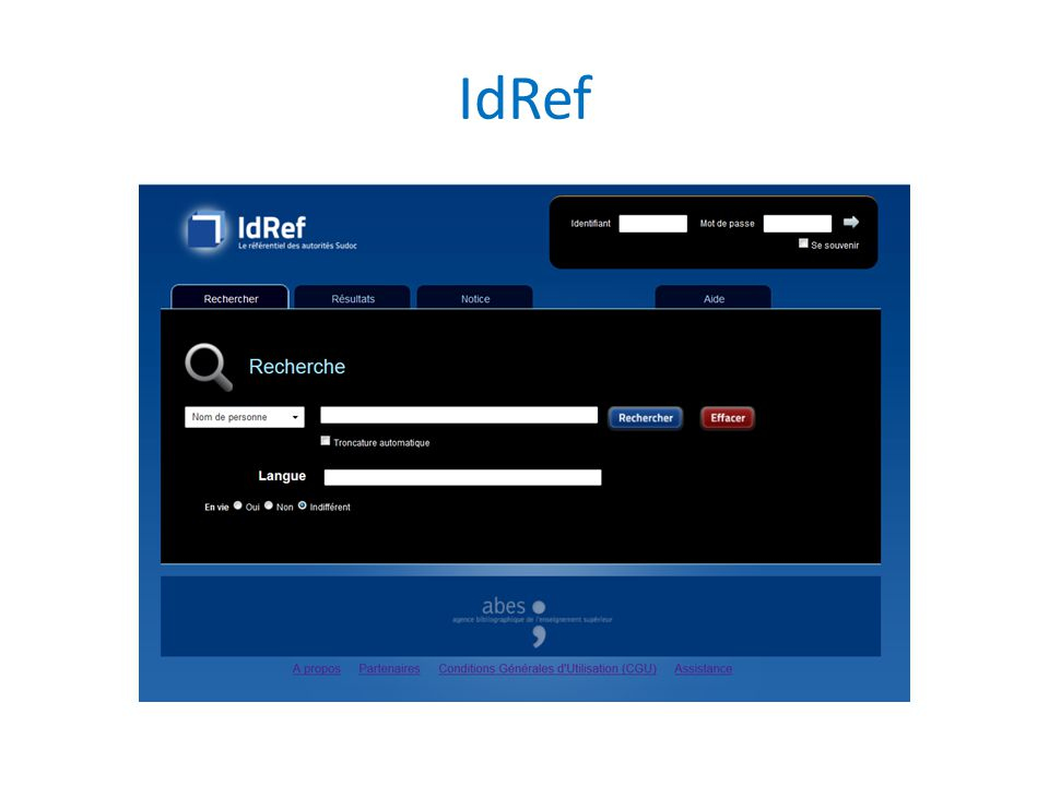IdRef IdRef est en soi une manière de répondre à ces enjeux de visibilité, d'exploitation, de web d'identifiants.