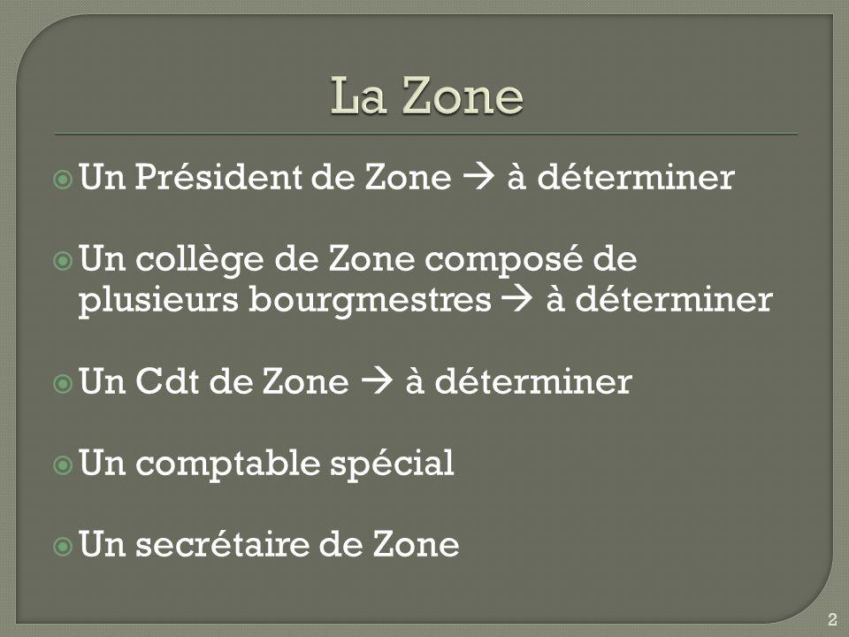 La Zone Un Président de Zone  à déterminer