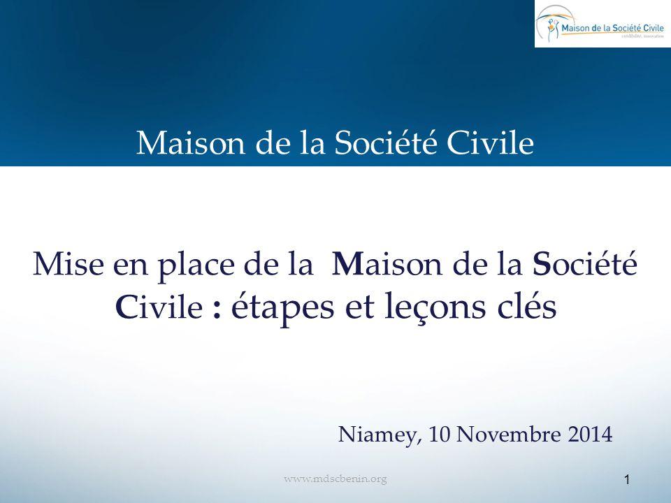 Maison de la Société Civile Mise en place de la Maison de la Société Civile : étapes et leçons clés