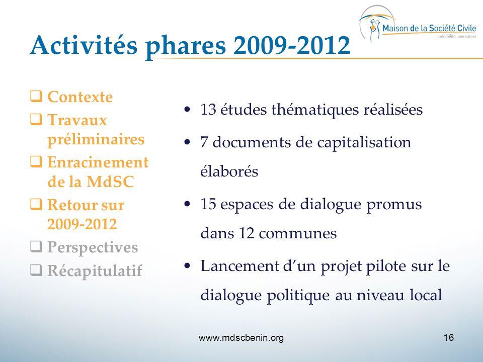 Activités phares 2009-2012 Contexte 13 études thématiques réalisées