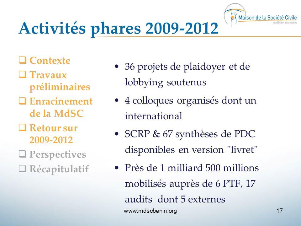 Activités phares 2009-2012 Contexte Travaux préliminaires