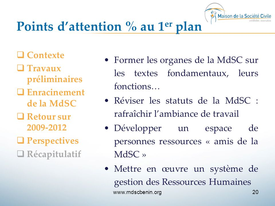 Points d'attention % au 1er plan