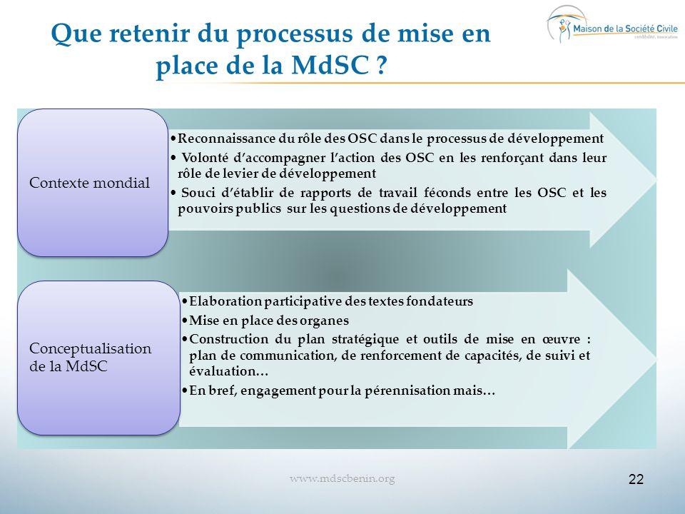 Que retenir du processus de mise en place de la MdSC