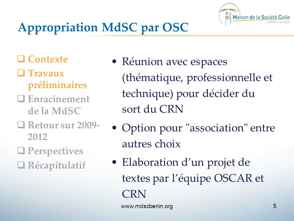 Appropriation MdSC par OSC