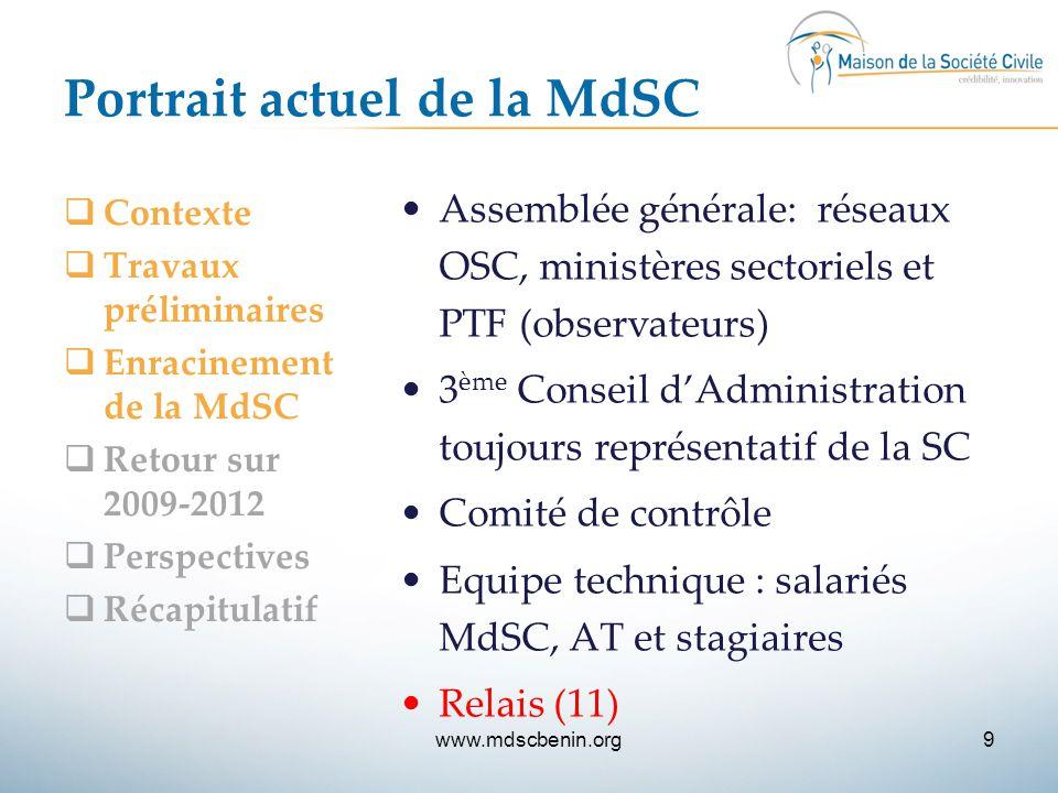 Portrait actuel de la MdSC