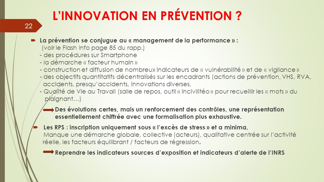 L'INNOVATION EN PRÉVENTION