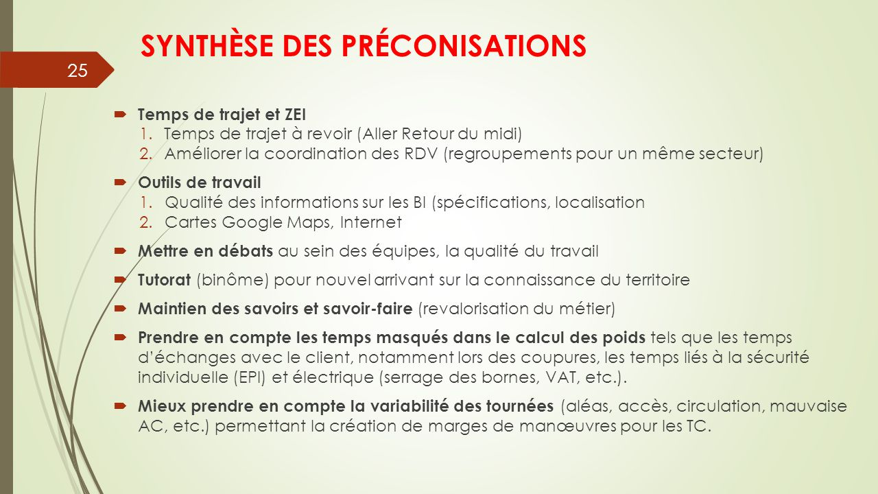 SYNTHÈSE DES PRÉCONISATIONS