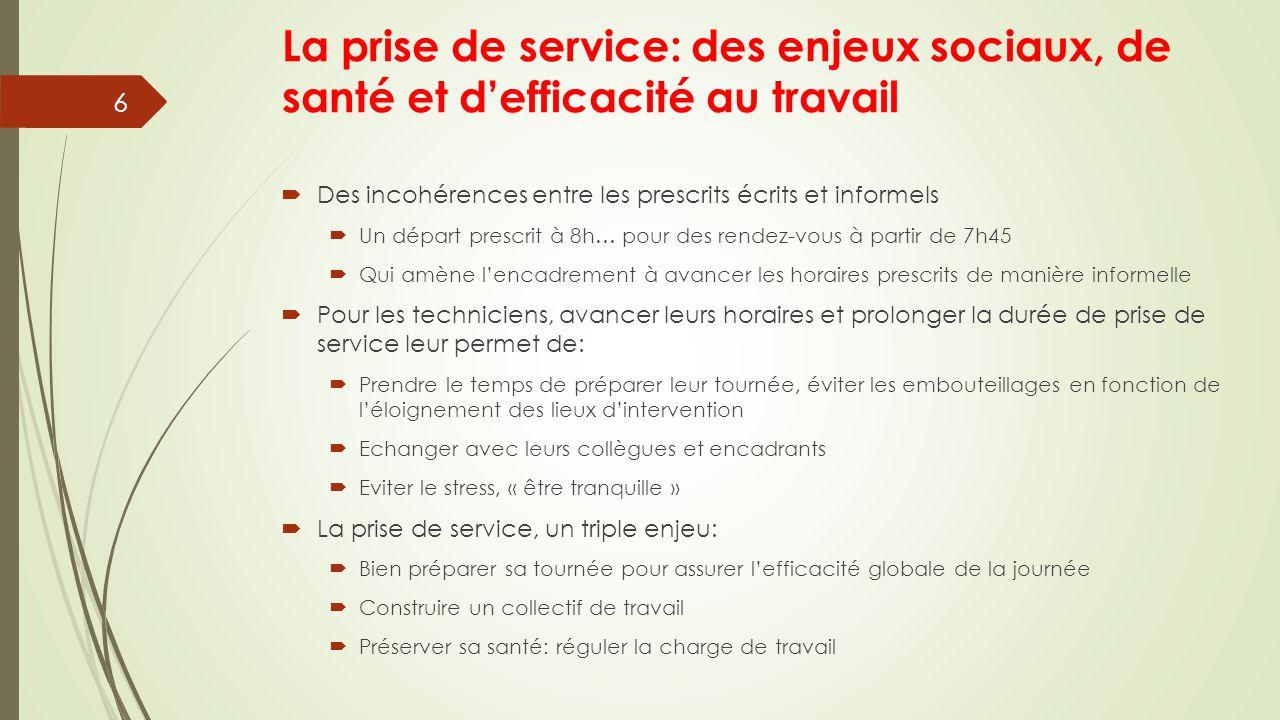 La prise de service: des enjeux sociaux, de santé et d'efficacité au travail