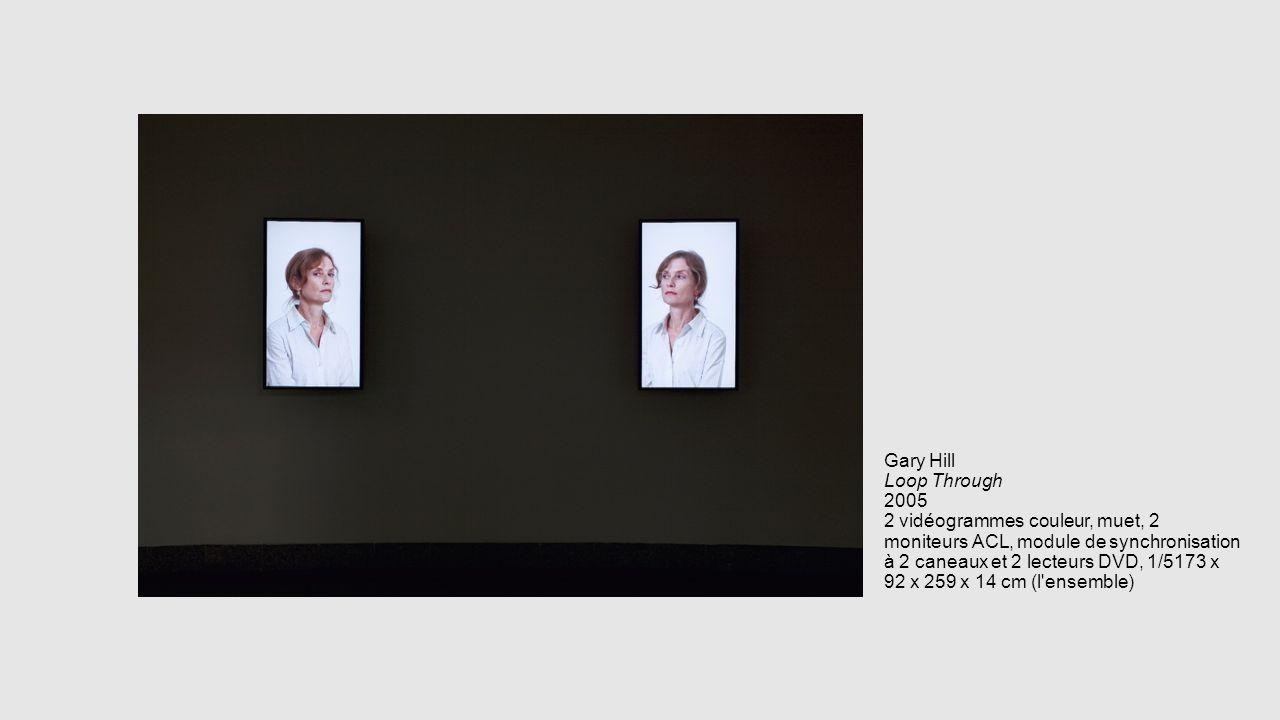 Gary Hill Loop Through 2005 2 vidéogrammes couleur, muet, 2 moniteurs ACL, module de synchronisation à 2 caneaux et 2 lecteurs DVD, 1/5173 x 92 x 259 x 14 cm (l ensemble)