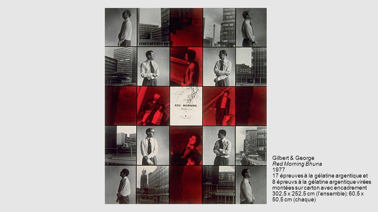 Gilbert & George Red Morning Bhuna 1977 17 épreuves à la gélatine argentique et 8 épreuvs à la gélatine argentique virées montées sur carton avec encadrement 302,5 x 252,5 cm (l ensemble); 60,5 x 50,5 cm (chaque)