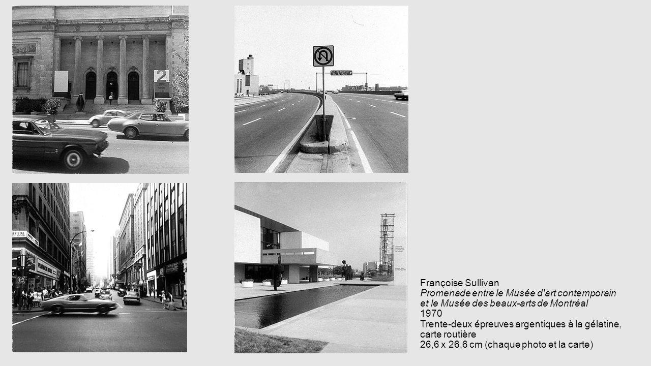 Françoise Sullivan Promenade entre le Musée d art contemporain et le Musée des beaux-arts de Montréal 1970 Trente-deux épreuves argentiques à la gélatine, carte routière 26,6 x 26,6 cm (chaque photo et la carte)