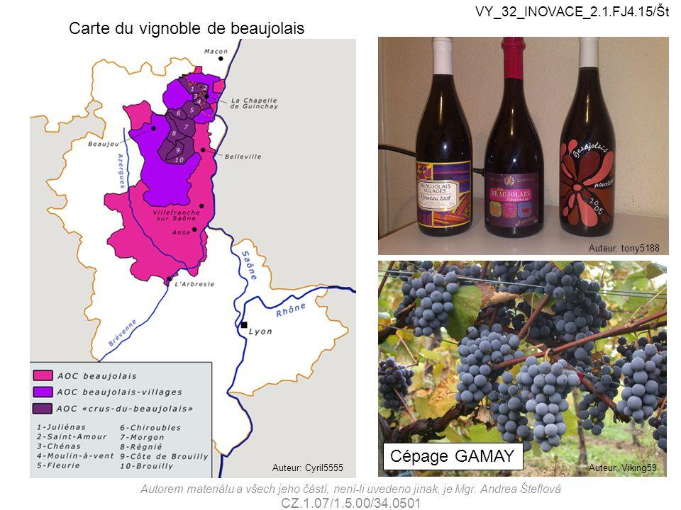Carte du vignoble de beaujolais