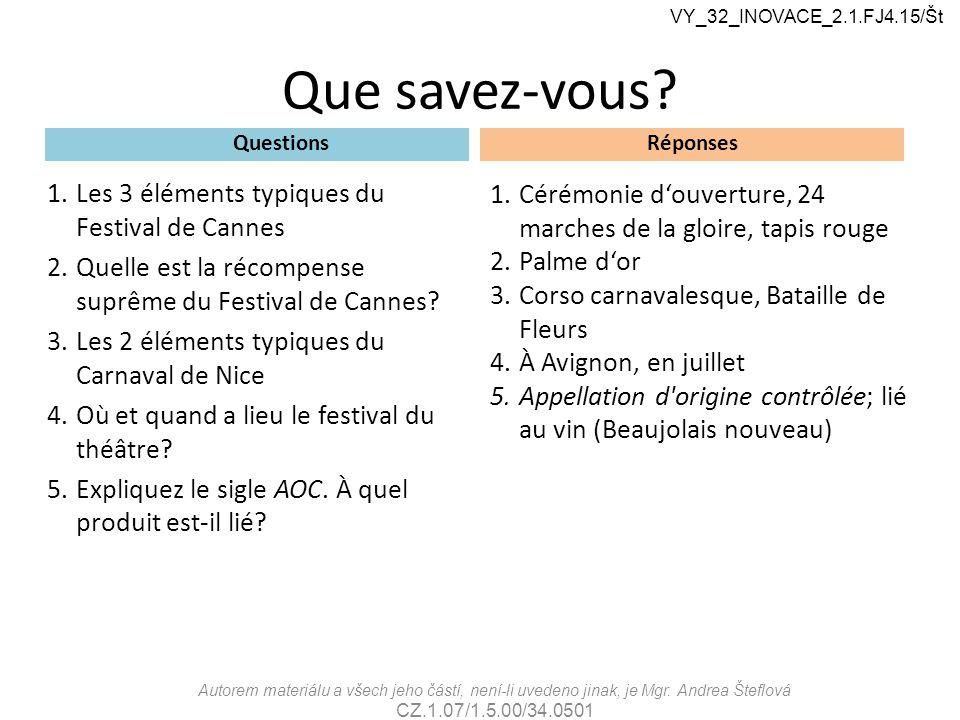Que savez-vous Les 3 éléments typiques du Festival de Cannes
